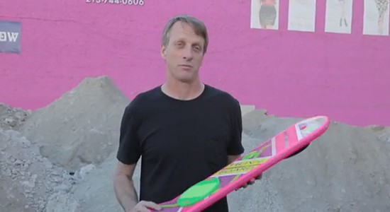 Tony Hawk tries the Hoverboard out
